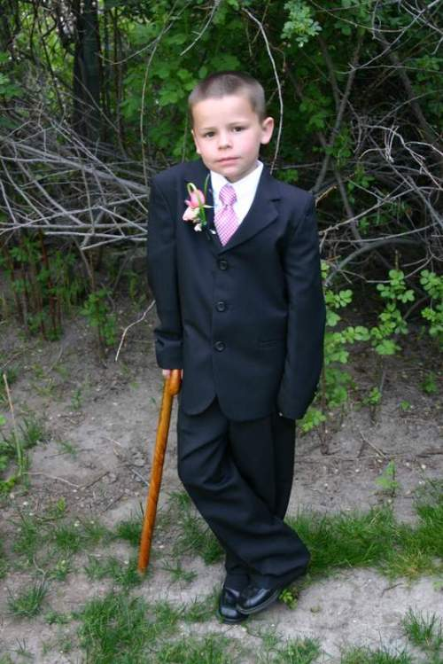 Bridger and his fancy cane (photo by aunt Tammy)